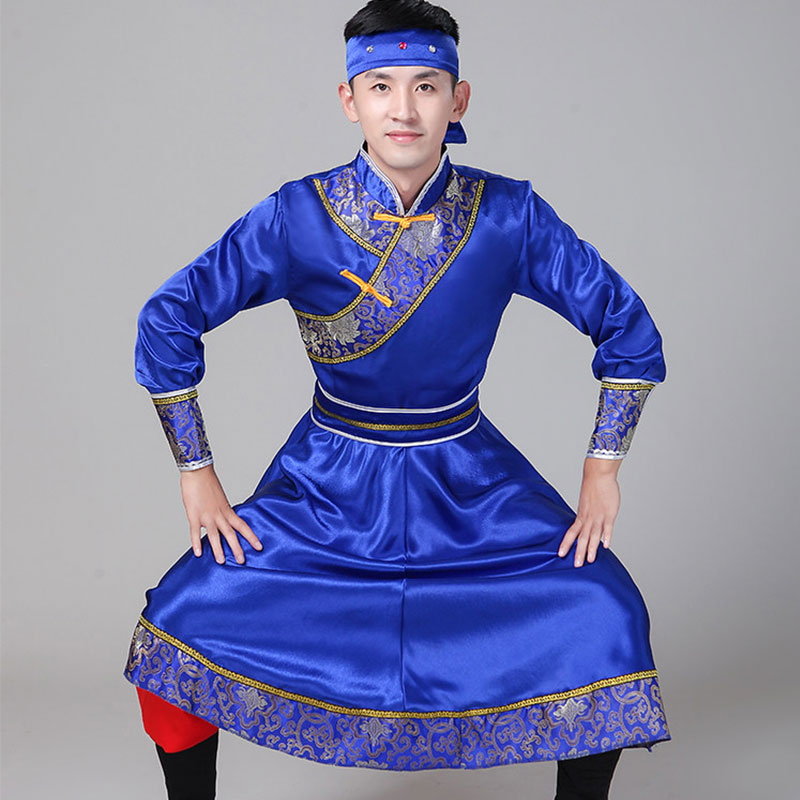 Men Performance Male Mongolian Adult Costume Minority Men's Clothing Robe Chinese Folk Dance Classical Dance Costumes