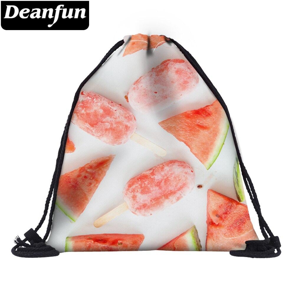 Deanfun Drawstring Bag 3D Printing Watermelon Ice Cream For Girls Summer School  60112 #