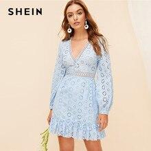 7cff7ee451 SHEIN Boho Blue Plunging Neck Lace Insert Embroidered Eyelet Mini Dress  Women Spring 2019 Deep V-Neck Flounce Hem A Line Dresses