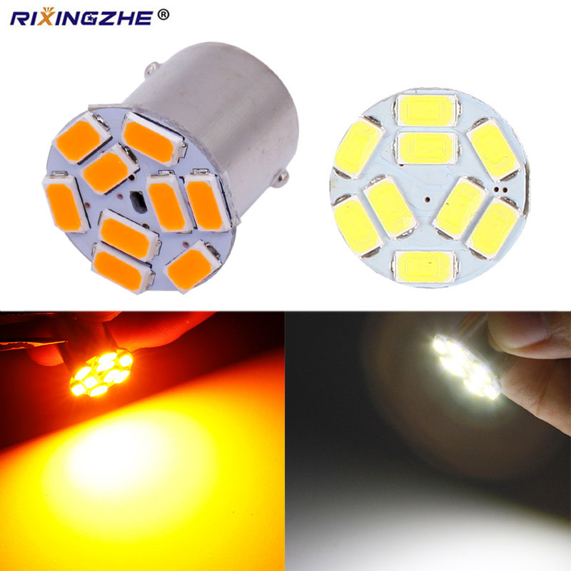 Лампы 12/24 В S25 1156 BA15S P21W BAU15S PY21W 5630 9Smd для автомобильных боковых габаритных огней, указателей поворота, стоп-сигналов, желтого и белого цветов
