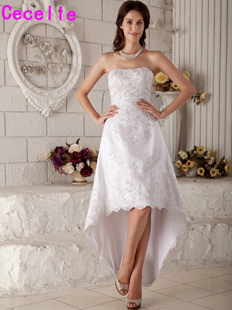 Vintage Tea Length High Low Wedding Dresses Sweetheart Beaded Appliques  Informal Short Wedding Gowns-in Wedding Dresses from Weddings   Events on  ... e503f06bb5b9