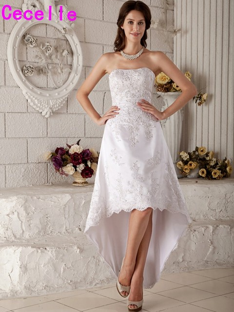 Vintage Tea Length High Low Wedding Dresses Sweetheart Beaded Appliques Informal Short Gowns