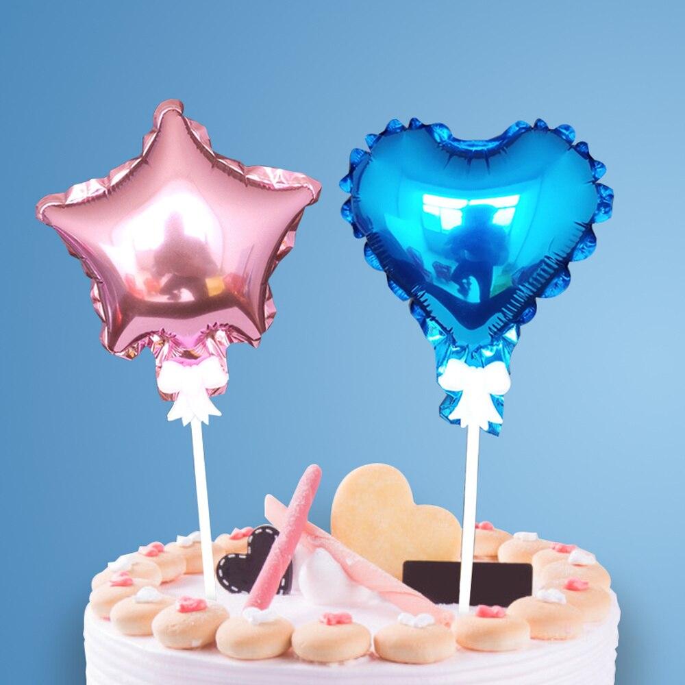 2pcs 5inch star love aluminum film balloon tag Pentagram engagement cake topper for wedding  birthday christmas decorations