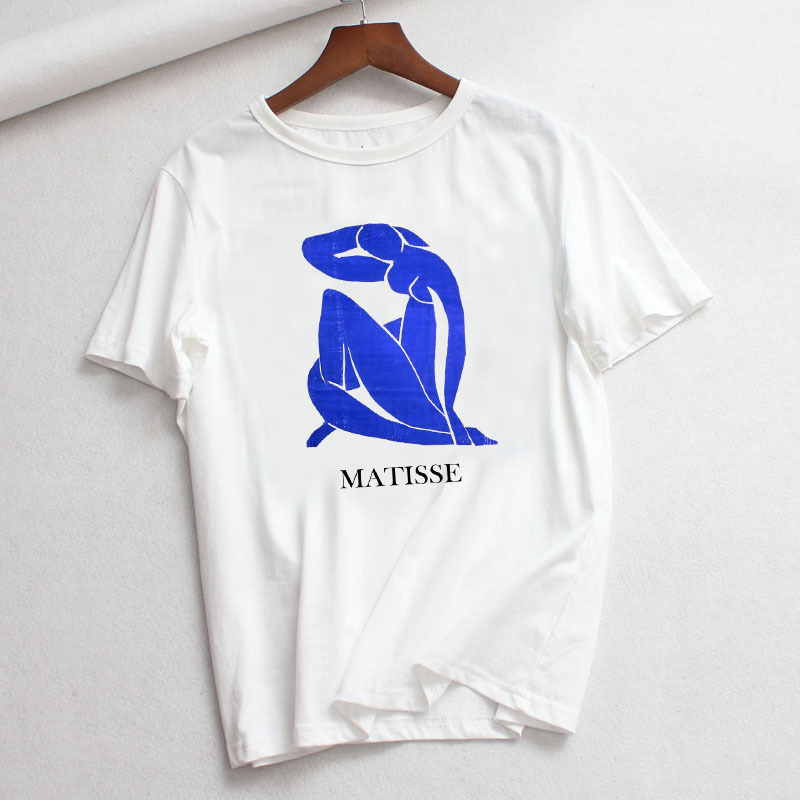 Funny MATISSE Dance Printed T-shirt for Women White Casual Tshirt Femme Harajuku Graphic Tee Shirts Tops Ropa Mujer Verano 2019 image