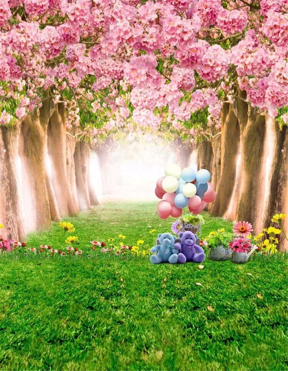 5x7ft Green Grass Apple Tree Flowers Balloon Photography Background Computer-Printed Vinyl Backdrops