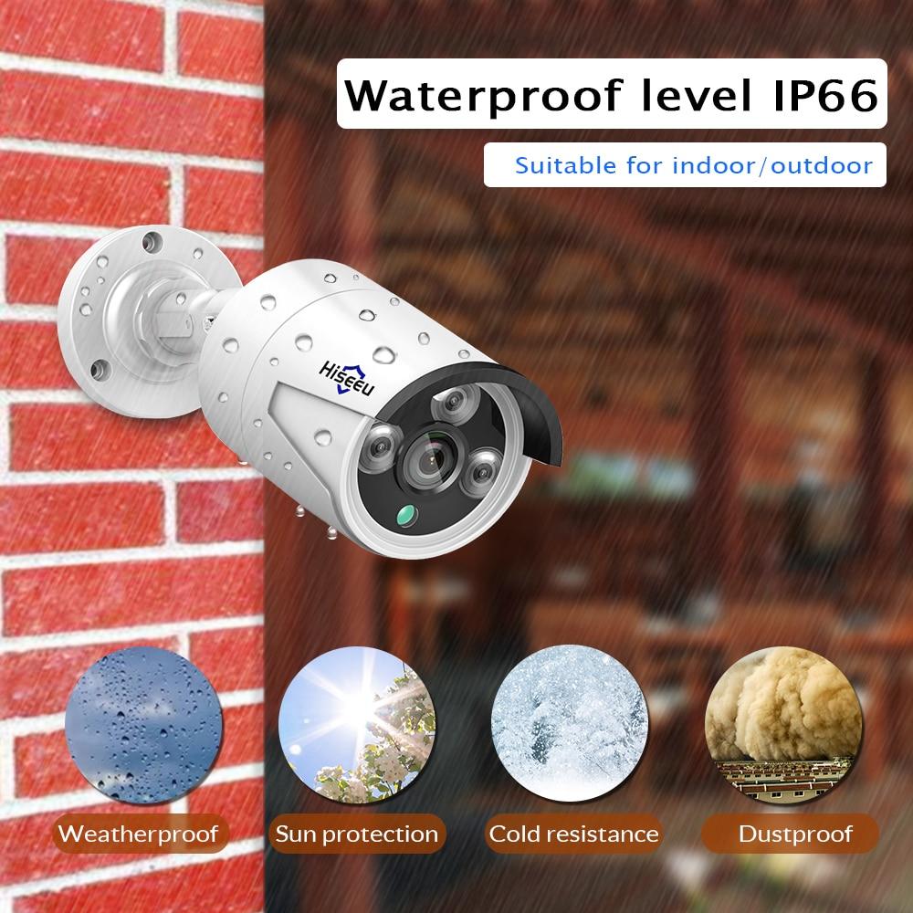 H.265 sistema CCTV NVR POE kit de 8ch 4MP resistente al agua cámara IP POE bala casa sistema de cámaras de seguridad al aire libre bajo lux onvif Hiseeu - 2