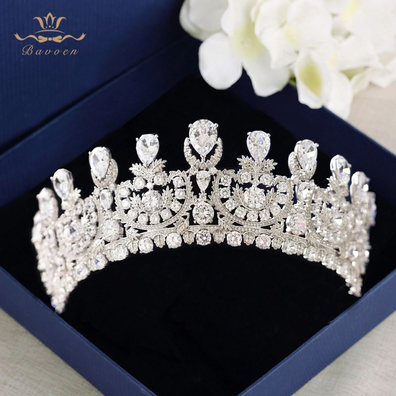 Sparkling Brides Oversize Plated Crystals Tiaras Crown European Full Zircon Hairbands Silver Wedding Dresses Hair Accessories