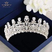 Сверкающие невесты Oversize покрытием кристаллами Диадемы Корона Европейский полный Циркон Hairbands серебряные свадебные платья аксессуары для в