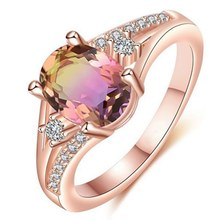2019 Rings Real Rose Gold Natural Pink Tourmaline Genuine Diamond Ring Jewelry Gift Party Gemstone Ring For Women(China)
