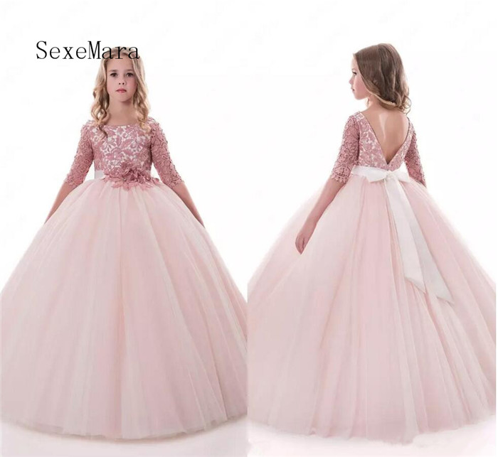 ff2005cdc93 Blush Lace Backless 2018 Arabic Flower Girl Dresses Ball Gown Child Dress  for Wedding Vintage Little