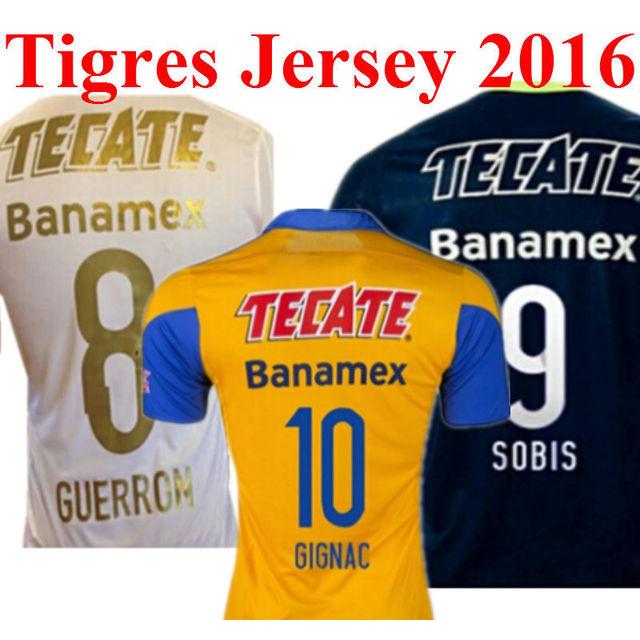 8a6438d62 2016 Tigers Sccoer Jerseys Futbol Jersey Mexico Club Team Tiger Copa  Libertadores Shirt GUERRON SOBIS GIGNAC GUERROM Home Yellow
