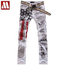 Новая мода флаг США печати мужские прямые джинсы ноги повседневное мыть хлопок Мужские джинсы slim fit Мужской мотобрюки C438