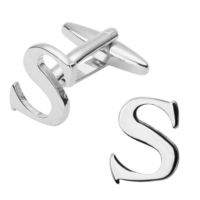 Modische Mann Hemd Manschette Links Glänzend Silber Brief S