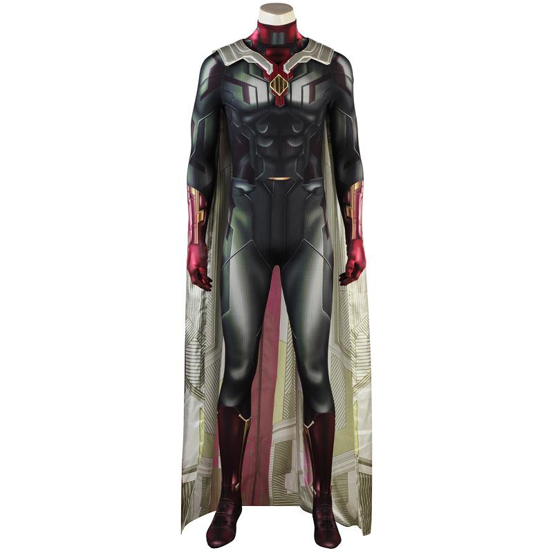 New Avengers Infinity War Suit Man Cosplay Adulte Costume Halloween Vision Men Adult 3D Shade Jumpsuit