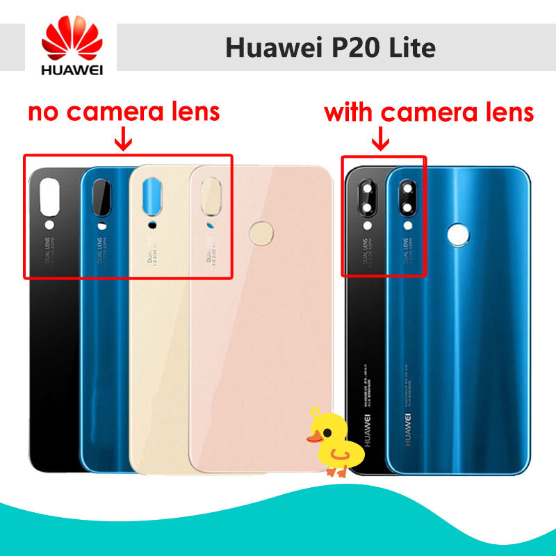 Glass-Cover Housing-Case-Panel Camera-Lens Huawei P20 Lite with Nova 3e/Rear/Door