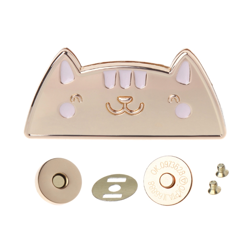 Cute Cat Magnetic Clasp Fastener Snap Button Press Studs Purse Bag Closure DIY