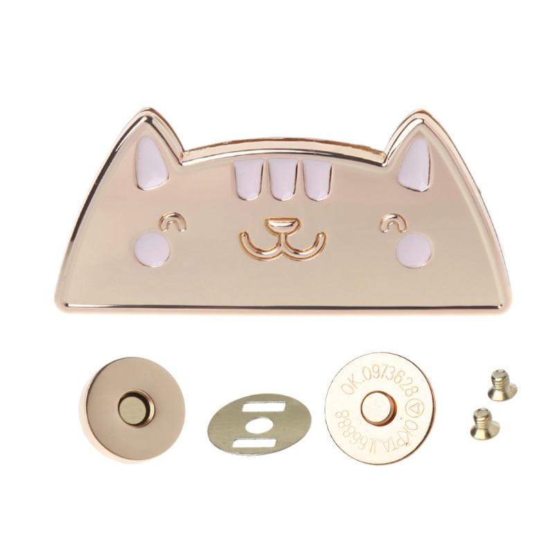 Cute Cat Magnetic Clasp Fastener Snap Button Press Studs Purse Bag Closure DIY