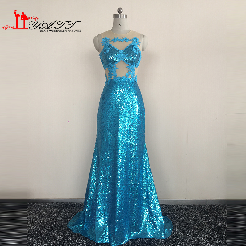 Real Picture 2016 Evening Prom Dresses Blue O-neck Long See Through Sexy Sequins Material Cheap Women Gown Liyatt image