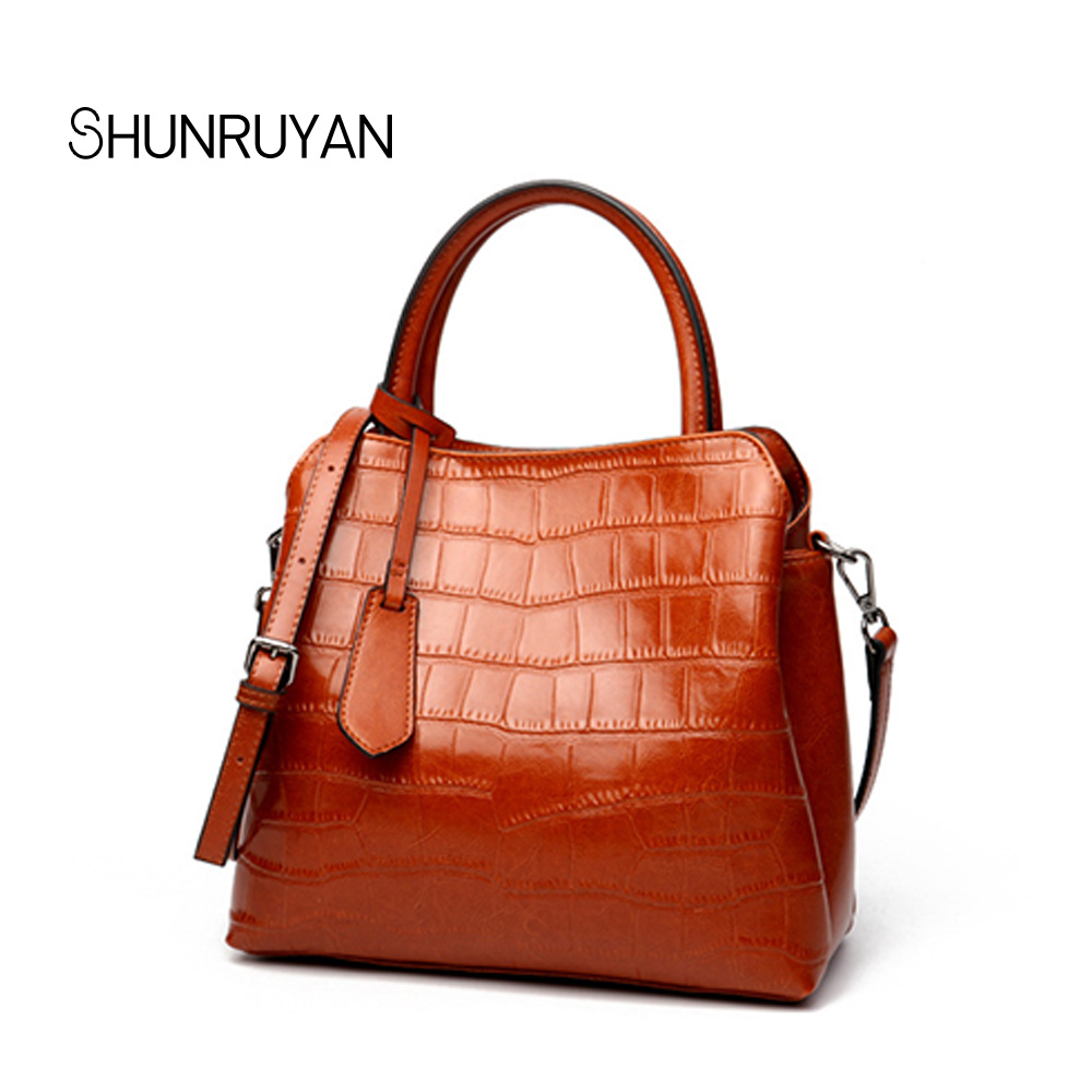 SHUNRUYAN Crocodile Pattern Women's Handbags 2018 New Fashion Trend Temperament Tote bag Leather Handbags crocodile pattern tote bag with purse