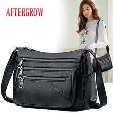 Medium Women Shoulder Bag Cheep Multi-pocket Female Crossbody Soft Leather Messenger For middle age Ladies Daily Handbag