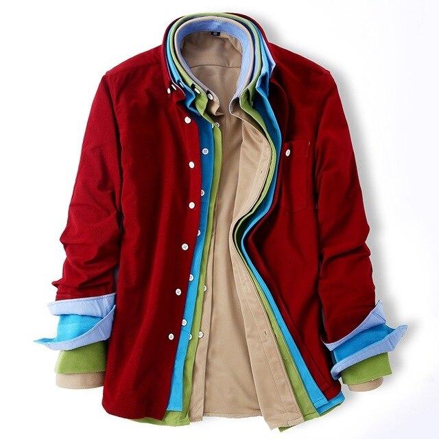 2018 весна осень классические ретро Для мужчин вельвет сплошной Цвет Рубашки для мальчиков с длинным рукавом Для мужчин S Повседневная рубашка корейский стиль Модные мужские Рубашки для мальчиков