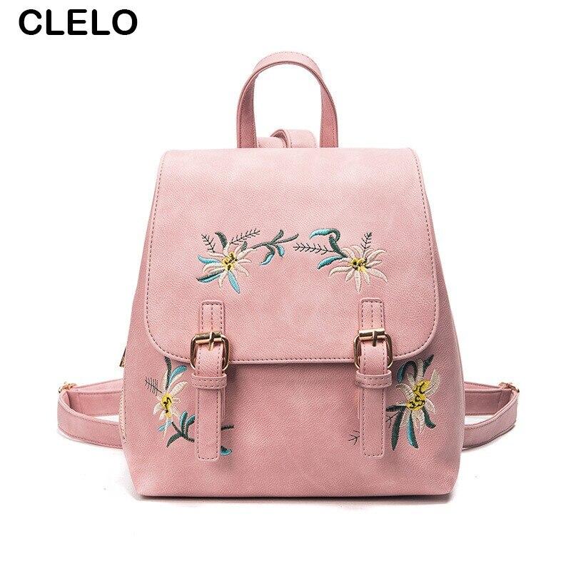 CLELO new fashion women s embroidery pu backpack School Bag For Teenage Girls Brand Ladies pretty