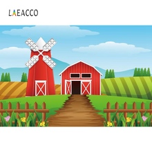 Laeacco Photo Background Baby Cartoon Rural Farm Filed Windmill Birthday Wooden Fence Poster Photographic Backdrops Studio
