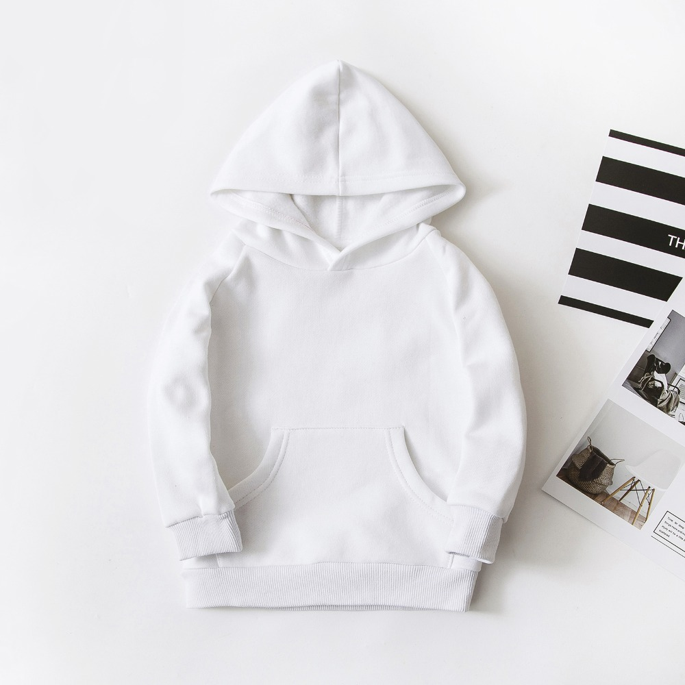 Bahar çocuk erkek beyaz tişörtü çocuklar saf renk Hoodies pamuk kız kazak Tops tek katmanlı kabanlar giyim 1-17 yıl