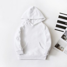 Spring Children Boys White Sweatshirts Kids Pure Color Hoodies Cotton Girl Pullover Tops Single Layer Outerwear Clothes 1-17 Yrs