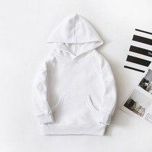 Sweat de printemps blanc pour enfants garçons et filles, à capuche couleur Pure, couche simple, hauts Pullover de 1 17 ans, vêtements dextérieur