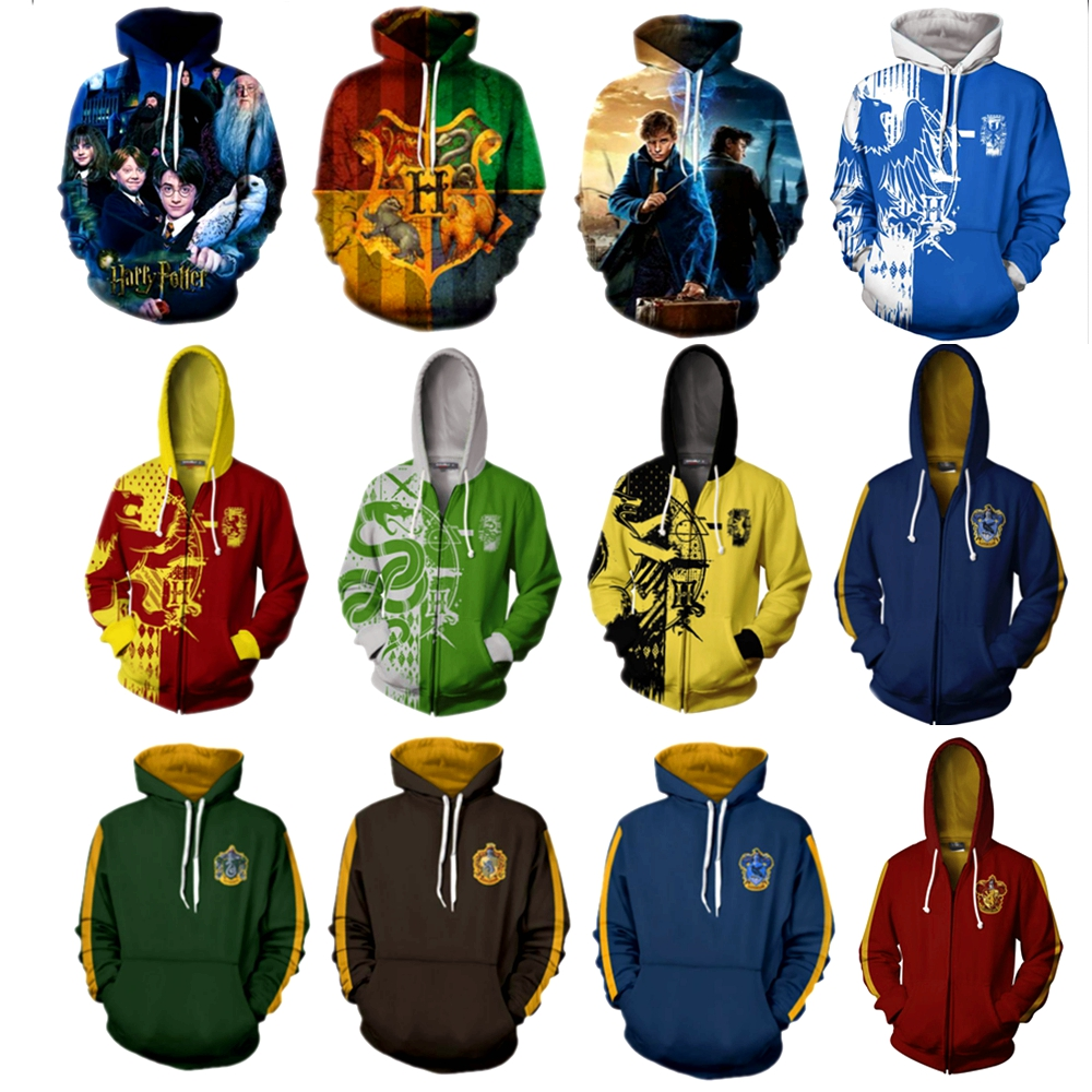 Harri Potter Gryffindor Slytherin Ravenclaw Costume Men Women 3D Hoodies Sweatshirts Pullover Trackusits Casual Zip Up Jacket