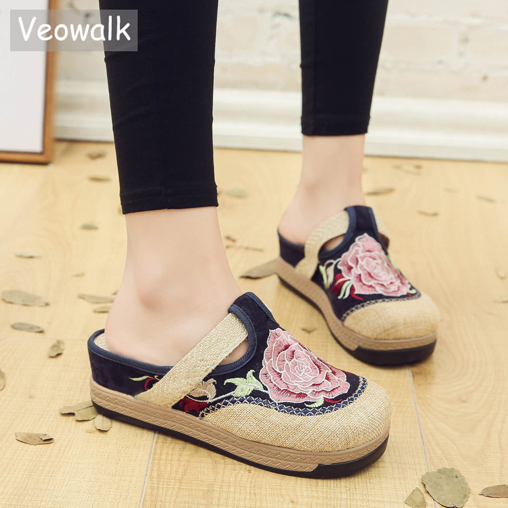 Veowalk Flower Embroidered Handmade Women Linen Cotton Flat Espadrilles Slippers Bohemian Summer Ladies Canvas Mules Slide Shoes