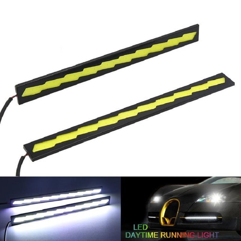 2Pc Waterproof 12V COB Car DRL Daytime Running Light Strip Driving Fog Lamp 17cm