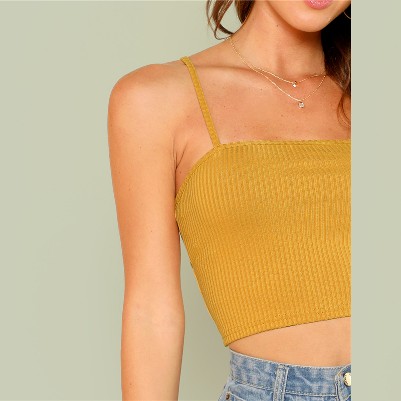 39bb69a227755c 2019 SHEIN Rib Cami Crop Top 2018 Summer Spaghetti Strap Solid Vest ...