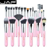 JAF 24 Pcs Pink Makeup Brush Set Soft High Quality Soft Taklon Hair Professional Makeup Artist