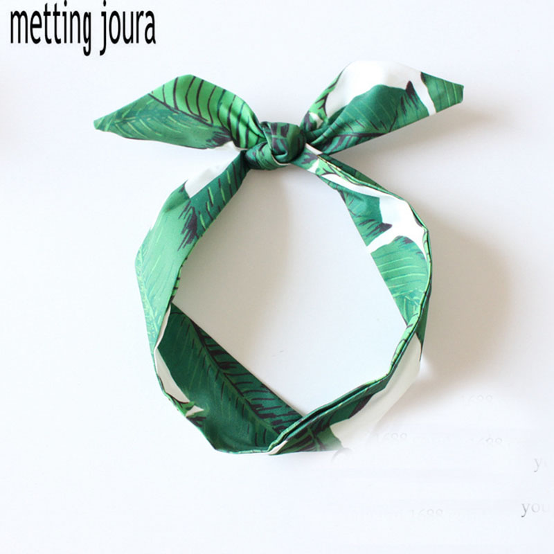 Metting Joura Vintage Bohemian Sea Beach Green Leaf Headband Holiday Ethnic Knotted Bow Hairband Hair Accessories