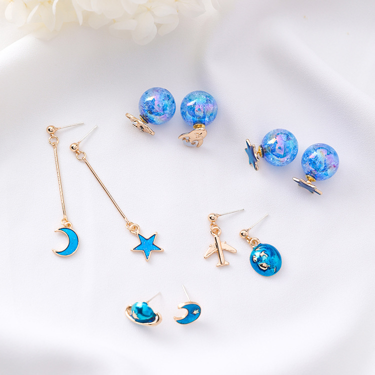2018 New Trendy Jewelry Blue Sky Star Moon Ball Holiday Girl's Fashion Earrings Pendientes Mujer Moda Earrings For Women Hot Sale 50-70% OFF
