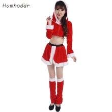 Señoras sexy traje de santa mujeres señora fiesta de navidad de lujo de dos piezas dress cosplay traje au19