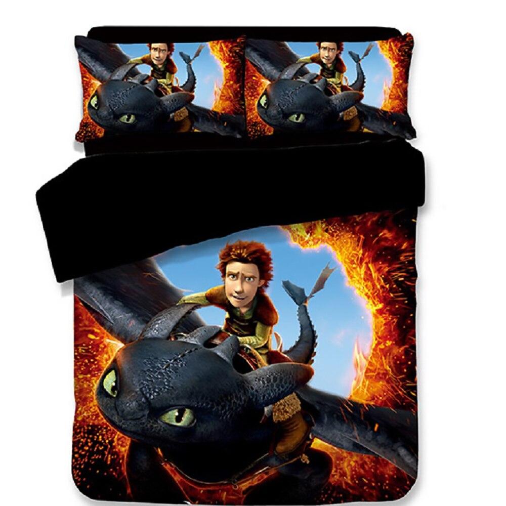 Comment former votre Dragon Cartoon 3 pièces ensemble de literie housse de couette + taie d'oreiller couverture enfants unique reine roi housse de couette 3d literie