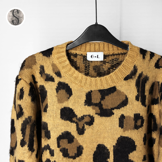 US $17.59 28% OFF|Leopard Print Cashmere Sweater Women Pullover Mohair Sweater Korean Long Sleeve Knit Pullovers O Neck Winter Warm Jumper