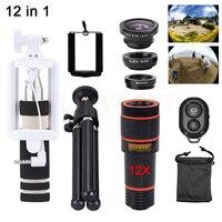 12in1 Phone Lenses Kit 12X Telephoto Zoom Lens Microscope Telescope+Tripod+Fisheye Wide Angle Macro Lentes For Smartphone Tripod