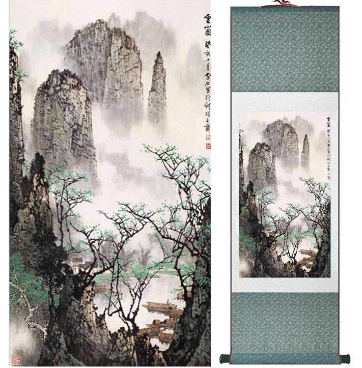 Mountain and River painting Chinese scroll painting landscape art painting home decoration picture 041706