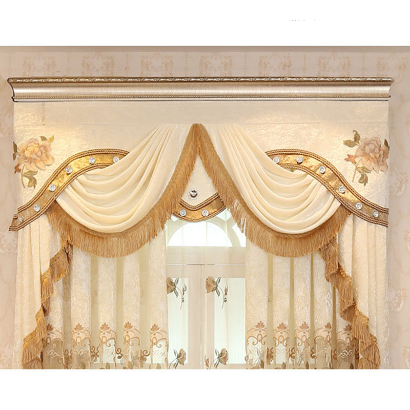 Simple Modern Embroidery Curtains For Living Room Velvet Fabric Valance Window Pelmet Blackout Luxury Drapes Decoration