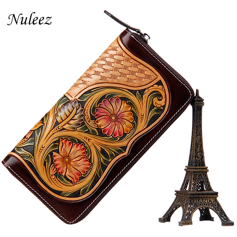 Nuleez genuine cowhide leather wallet women handmade carving clutch bag vintage luxury purse 2018 new