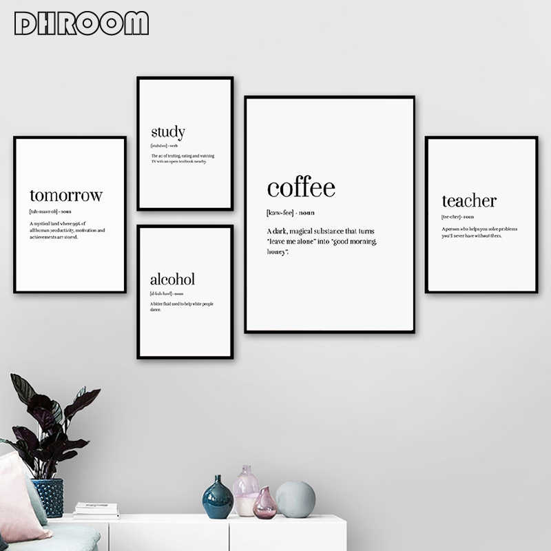 Word Definition Poster Prints Coffee Canvas Art Painting
