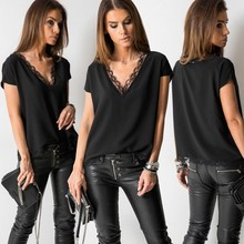 Black Sexy Lace T Shirt Summer Short Sleeve V Neck Tees Fashion Tops for Women Elegant Clothes Ladies Casual Shirts Streetwear(China)