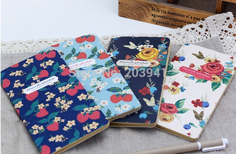 1PCS/Lot Cute vintage Garden Flower series Kraft paper Notebook Diary Planner School Office  Stationery
