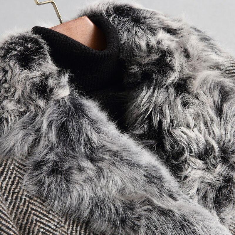 18121 2018 Doublure Mélange D'hiver Gris D'agneau De Fourrure Manteaux Femelle Réel Épais Ayunsue Laine Femmes Manteau Tweed Naturel Veste Chaud Wyq1946 0P4Uwq7w