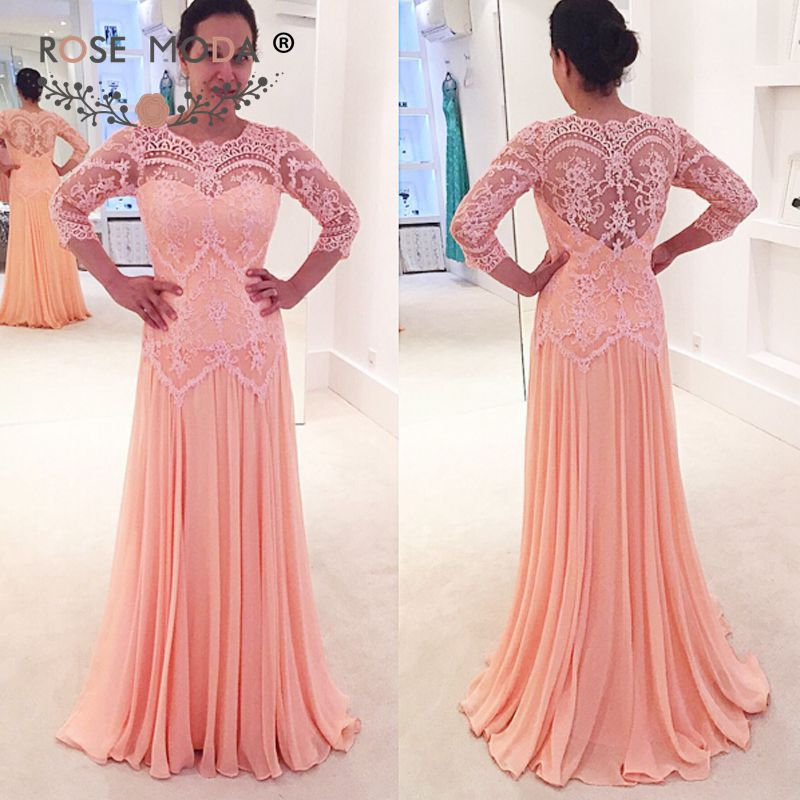 Stunning Mother Of The Bride Dresses: Stunning Three Quarter Lace Sleeves Coral Mother Of The