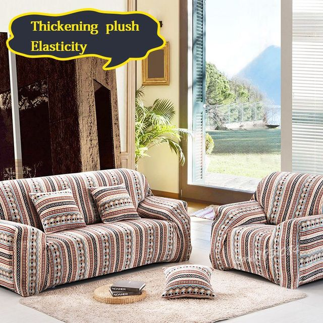Full Coverage Thickening Plush Sofa Cover Non Slip Elastic Sofa Cover  Sectional Couch Covers L